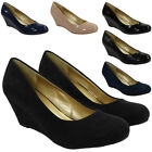 WOMENS LADIES FAUX SUEDE MID LOW HEEL WEDGE CASUAL WORK POSH COURT SHOES SIZE