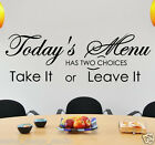 TODAY'S MENU HAS TWO CHOICES  VINYL WALL QUOTE   ---  KITCHEN wall art  N80