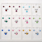12 month colors birthstone 925 silver crystal jewelry Set Earrings Necklace