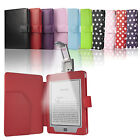 NEW Luxury Leather Case Cover Wallet with Light for Amazon Kindle Touch WiFi 3G