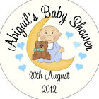 Personalised Baby Shower Circular Stickers Labels - Favours - Baby Moon Blue