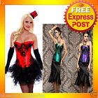 CC32 20s Burlesque Dancer Moulin Rouge Hens Night Party Costume Corset + Skirt