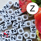 """Z"" White Square Alphabet Letter Acrylic Plastic 7mm Beads 37C9129-z"