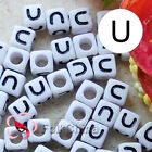 """U"" White Square Alphabet Letter Acrylic Plastic 7mm Beads 37C9129-u"
