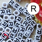 """R"" White Square Alphabet Letter Acrylic Plastic 7mm Beads 37C9129-r"