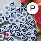 """P"" White Square Alphabet Letter Acrylic Plastic 7mm Beads 37C9129-p"