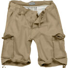 SURPLUS COMBAT VINTAGE CARGO MENS SHORTS MILITARY STYLE WASHED 100% COTTON BEIGE