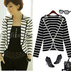 Womens Casual Long Sleeved One Button Striped Blazer Suit Jacket Size UK 8-14
