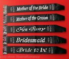 Various Black Satin Hen Night Sash Dazzling Foil Writing Bride Party Celebration