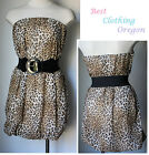 Juniors New Leopard printed tube Dress with Belt Loose Tuck-Hemmed Size S