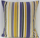 BLUE GREY MUSTARD STONE STRIPED SCATTER CUSHION COVERS WITH A BLACK BACKING