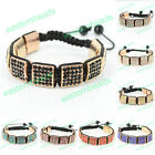 New 8 Rhinestone Square Beads Braiding Adjustable Shamballa Bracelet Bangle 1PC