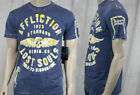 AFFLICTION Men's T-shirt MASTER BULKHEAD burnout flocked navy A6241