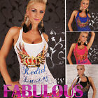 NEW SEXY WOMEN'S TOP SIZE 8-10 CASUAL PARTY WEAR SHIRT SINGLET BLACK WHITE BLUE