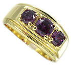 Three Amethyst Purple CZ Stone Gold Plated Mens Ring