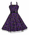 Alternative 50's Vintage Purple Tartan Tattoo H/Neck Rockabilly Dress New 8 - 18