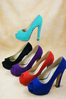 Platforms Stiletto High Heels Peep Open Toe Pumps Faux Suede MultiColor All Size