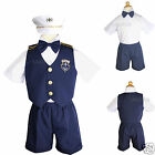 Baby Boy & Toddler Sailor Captain Vest Shorts Outfits Navy sz:0,1,2,3,4,5(0M-3T)