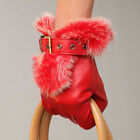 Black Red Women Italian nappa leather gloves w/ buckle design rabbit fur cuff