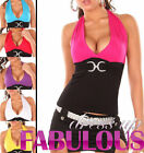 SEXY WOMEN'S HALTER TOP SIZE 6-8-10 LADIES CASUAL CLUB WEAR BLACK BLUE PINK RED
