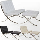 Apex Barcelona Chair and Ottoman Leather Black White Brown By Mies Van Der Rohe