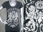 AFFLICTION women's T-shirt RANA crystals u-neck NEW Burnout