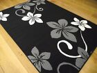 New Black Silver And Grey Small Extra Large Modern Floral Floor Carpets Mat Rugs