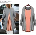 NWT Fashion long Sleeve knit cotton false 2 tops shirt dress 2 colors plus size