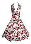 LADIES 1940'S 1950'S VINTAGE STYLE LILLIES FLORAL PRINT TEA DRESS NEW 8 - 18