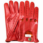 New top quality real soft leather men's driving fashion gloves stylish red 507