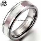 6MM Women Pink Abalone Shell Tungsten Rings Comfort Fit Wedding Band Size 4-13 image