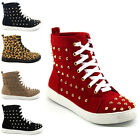 LADIES SNEAKERS FLAT LACE UP STUDDED ANKLE WOMENS HIGH TOP TRAINERS 3-8