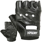 FITNESS GLOVES WEIGHT LIFTING GYM CYCLE GLOVES LEATHER SHORT STRAP BLACK
