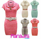NEW LADIES ONE BUTTON BELTED CABLE KNITTED WOMENS JUMPER DRESS TOP SIZES 8-14