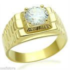 Mounted 3.35ct Clear Round CZ Stone 18kt Gold EP Mens Ring New