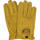 NEW REAL SOFT LEATHER MENS TOP QUALITY DRIVING GLOVES STYLISH FASHION YELLOW 507