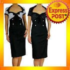 RK22 Black Polka Dot Pencil Dess Rockabilly Swing Work Retro Pin up 40s 50s