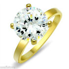 6.4 Carat Round Cubic Zirconia Gold EP Bridal Solitaire Ladies Ring Size 9-10