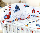 MARINE BABY BOY NURSERY COT BED SET - 3 PC - BUMPER/QUILT COVER/PILLOW CASE