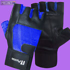 BLUE & BLACK LEATHER WEIGHT LIFTING GLOVES BODY BUILDING GYM FITNESS TRAINING
