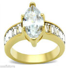 4.5ct Marquise Cut Cubic Zirconia Gold Plated Bridal Engagement Solitaire Ring