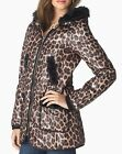 $398 Juicy Couture Women  Leopard Print Puffer Jacket Down Coat Outerwear