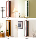 Solid Wood Jewelry Armoire Mirror Wall Mount Locking Jewelry Organizer Cabinet