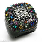 Ladies Multi Color Crystal St. TIN Cobalt Black Gold Plated Paloma Ring