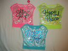 NEW JUSTICE NEON SEQUINED BOXY SHIRT/TOP SIZE 8 10 12 14 16 18 20 U CHOOSE COLOR