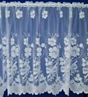 LEANNE WHITE FLORAL BOUQUETS WITH BOWS MOTIFS NET CURTAIN PRICE PER METRE