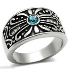 Capri Blue Stone Antique Design Silver Stainless Steel Mens Ring