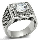 4.7ct CZ Block Design Silver Stainless Steel Mens Ring