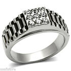 Nine Crystal Stones Grooved Band Silver Stainless Steel Mens Ring