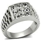 Nine Clear Stones Pave Silver Stainless Steel Mens  RX Ring